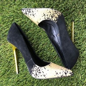 Privileged Brand Gold and Black Heels size 7.5